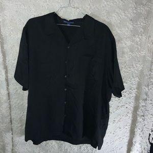 Men's black button down shirt short sleeve
